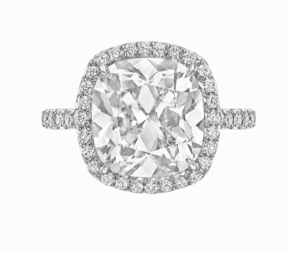 Cushion Cut Engagement Ring in a Pavé Halo
