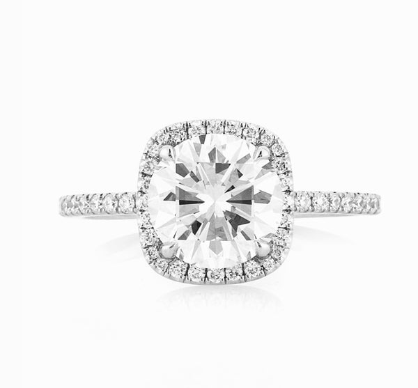 Dublin Engagement Rings Round Diamond in a Cushion shaped halo