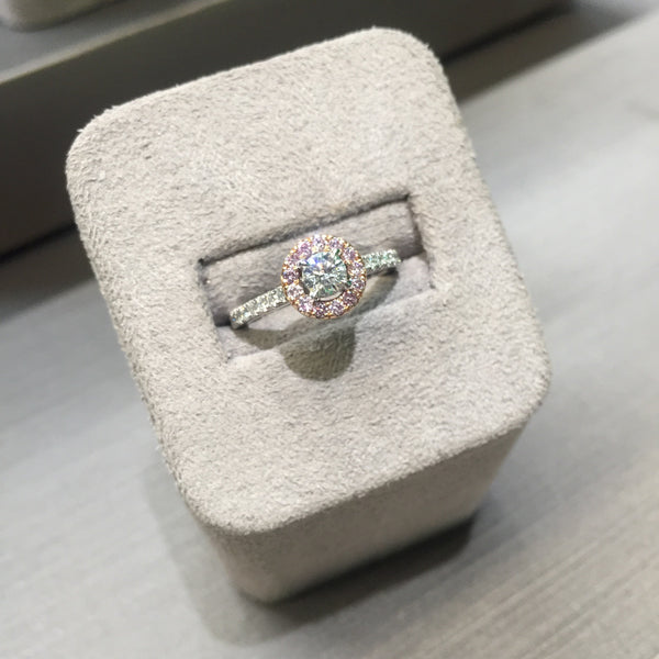 """Touch of Pink"" Halo Engagement Ring"