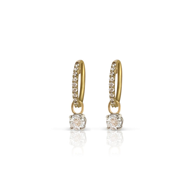 Diamond Huggie Drop Earrings