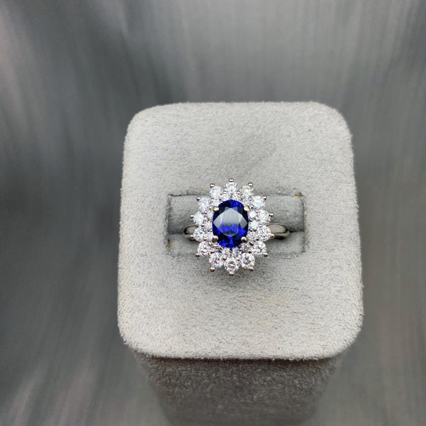 Classic Sapphire and Diamond Cluster Engagement Ring Dublin