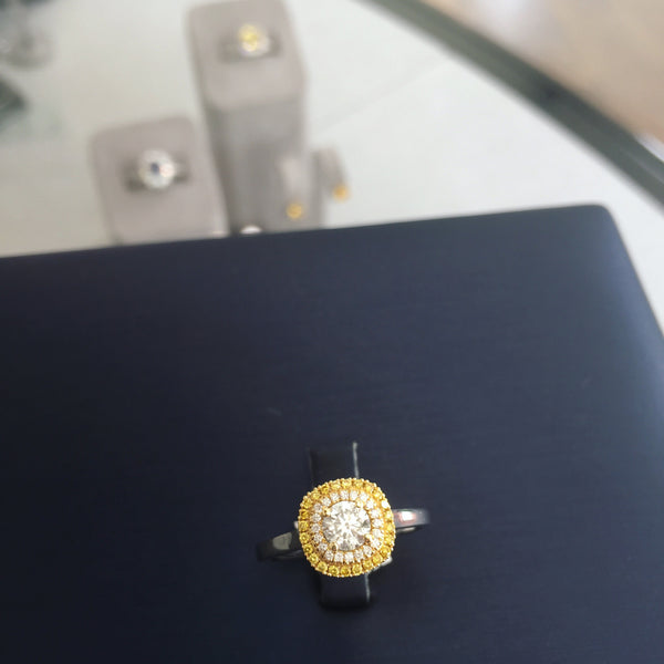 Engagement Ring Cushion Shaped Yellow Diamond Halo with White Diamonds