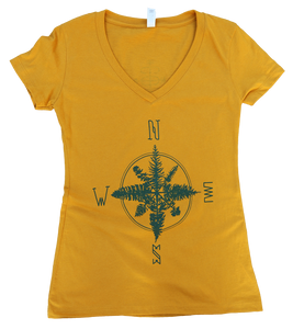 Tree Compass Ladies V neck Tee