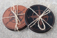 Tree Compass Leather Coaster - 4 Pack