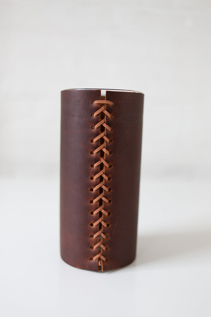 Leather Wrapped Vase