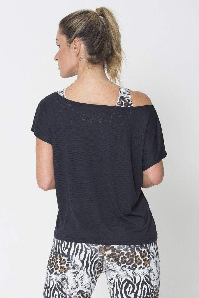 Black Drop Tail Hem Tee - SFG Wellness