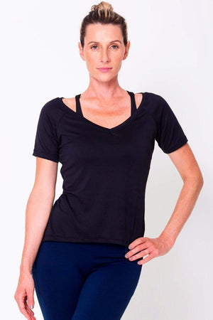 Black Raglan V-neck Tee - Sam's Fitness Goods