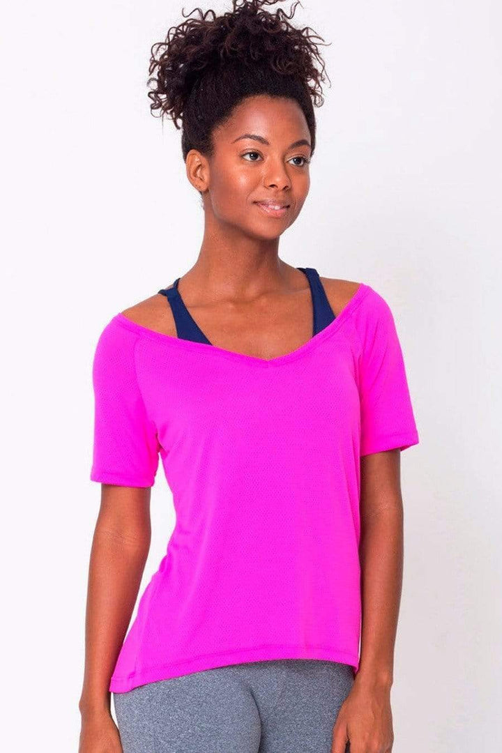 Pink Raglan V-neck Tee - Sam's Fitness Goods