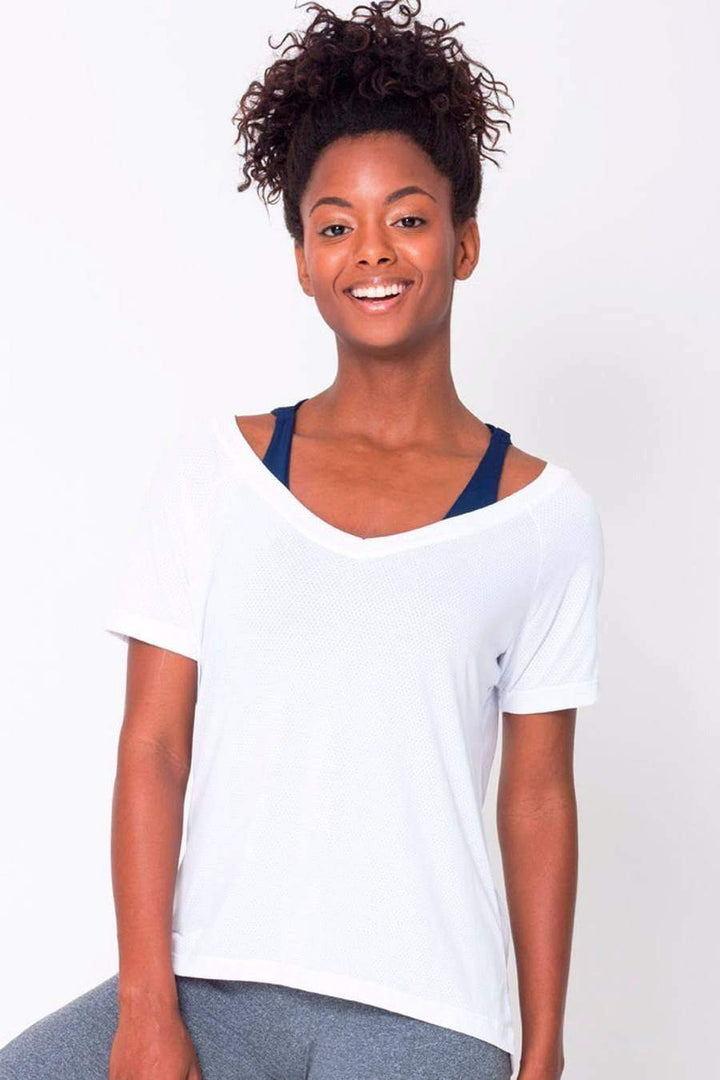 White Raglan V-neck Tee - Sam's Fitness Goods