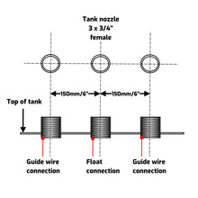 Guide wire tensioning system for stainless steel 200mm diameter float