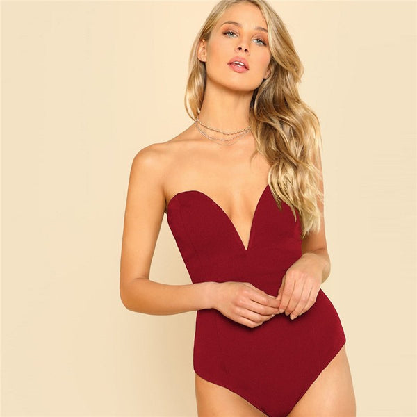 Burgundy Sexy Backless Sweetheart Bustier Sleeveless