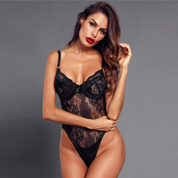 Black Solid Sexy Floral Lace Teddy