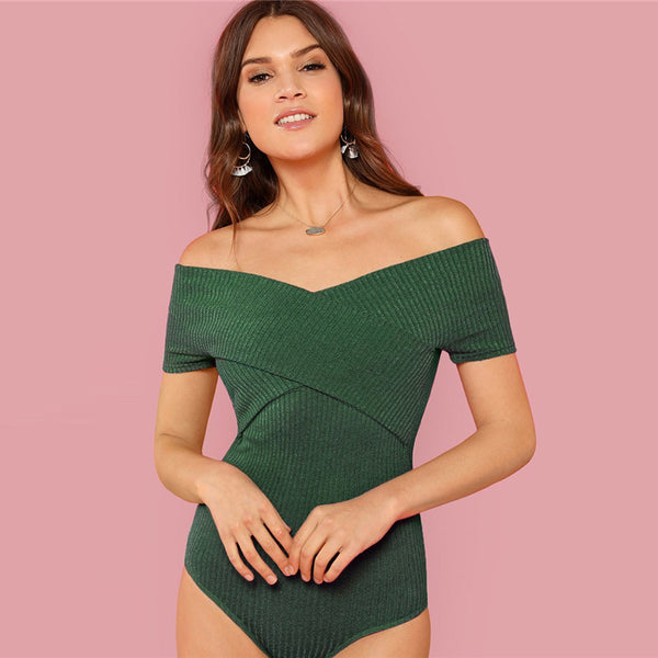 Green Off the Shoulder Cross Wrap Sexy Knit