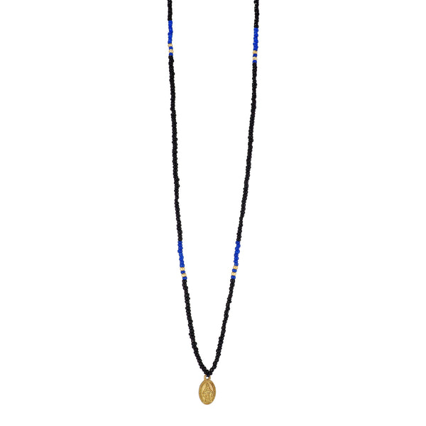 One long String Necklace feat. Black and Azure glass and Gold plated beads and a dainty Gold plated Holy Mary medal from Colombia. Gender Neutral