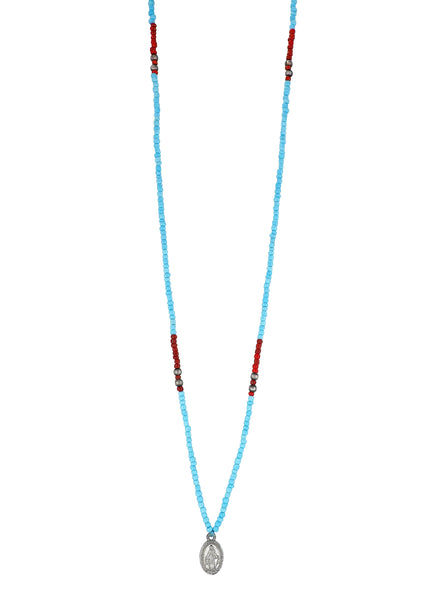 One long String Necklace feat.Turquoise and Carmine glass and Silver plated beads and a dainty Silver plated Holy Mary medal from Colombia. Gender Neutral
