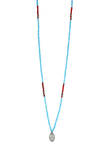 One long String Necklace feat.Turquoise and Carmine glass and Silver plated beads and a dainty Silver plated Holy Mary medal from Colombia.