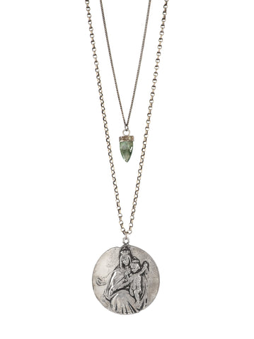Two layered Necklace featuring a large Vintage Holy Mary medal set on an Antique Silver chain. Labradorite Crystal set in Silver on dainty Silver plated chain