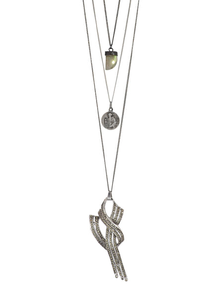 Crystal incrusted Bow pendant, St. Benedict Medal and Labradorite Crystal Necklace