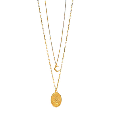 "Delicate and pretty, two layered Gold plated Necklace featuring a Holy St. Michael ""The Archangel"" medal from Colombia and a dainty Crescent Moon"