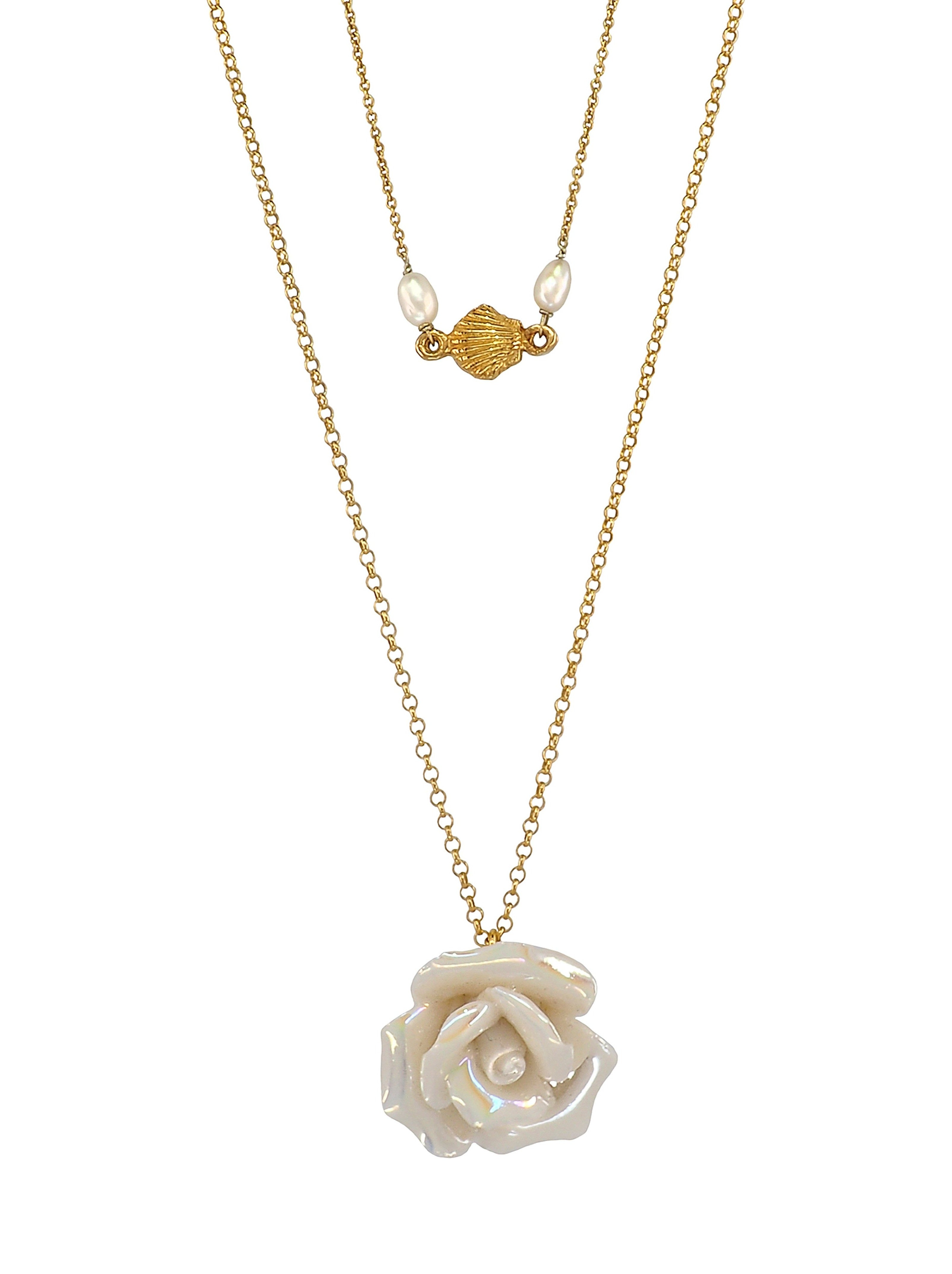 Gorgeous two layered Necklace featuring a stunning 100 year old handmade ceramic Rose and a dainty Shell combined with two natural Freshwater Pearls. All the Metalwork is made of Gold Plated 925 Silver.