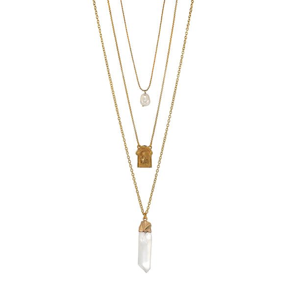 Strikingly beautiful three layered Necklace featuring an antique Holy Mary and Baby Jesus medal, a dainty Baroque Pearl and a a big ass Quartz Crystal