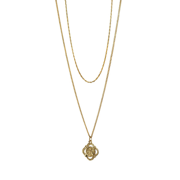 Delicate and gorgeous two layered Necklace featuring a beautiful antique Our Lady of Montserrat pendant set on two dainty Brass chains