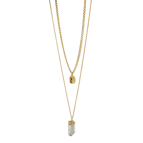 Cool and sophisticated two layered Necklace featuring an antique Our Lady of Lourdes medal and a powerful Clear Quartz Crystal
