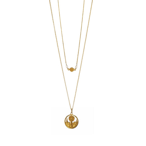 Delicately beautiful two layered Necklace featuring a Gorgeous antique pendant engraved with an image of Our Lady of the Pillar. Gold plated 925 Silver