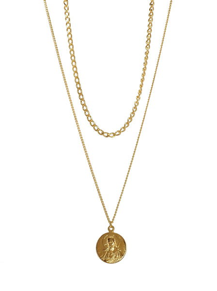 Lovely two layered Necklace featuring an antique Holy Mary and Baby Jesus medal (with a Sacré-Cœur relief on the reverse). All set on two dainty Brass chains. Everything has been recently Gold Plated in Barcelona so the beauty of the pieces is renewed to last for a very long time. A Timeless Necklace that is perfect for All Occasions, wear it Alone or with your favorite layering pieces.  One of a Kind and Passionately crafted in Barcelona.