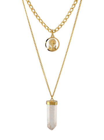 Our Lady of the Pilar and Clear Quartz two layered Gold plated Necklace
