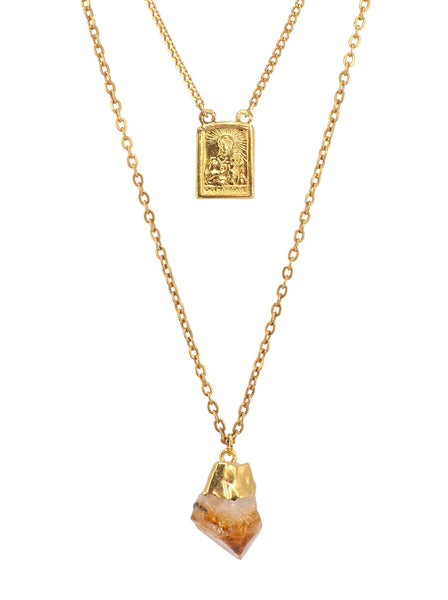 two layered Gold plated Necklace featuring an antique Holy Mary and Baby Jesus medal (with a Sacré-Cœur relief on the reverse) and an exquisite Citrine Quartz Crystal