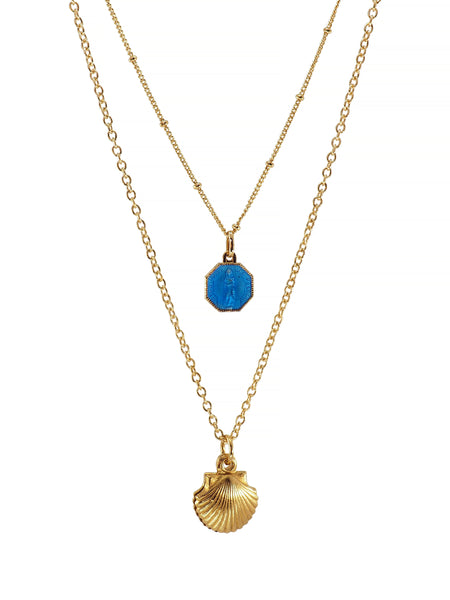 Gold plated Our Lady of Falgas and Santiago de Compostela Reliquary Necklace