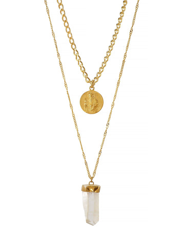 St. Benedict and Clear Quartz Gold Plated Necklace