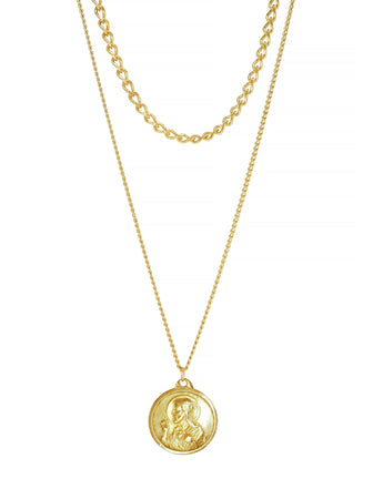 Virgen del Carmen gold plated Sagrado Corazón de Jesus Necklace Sacred Heart