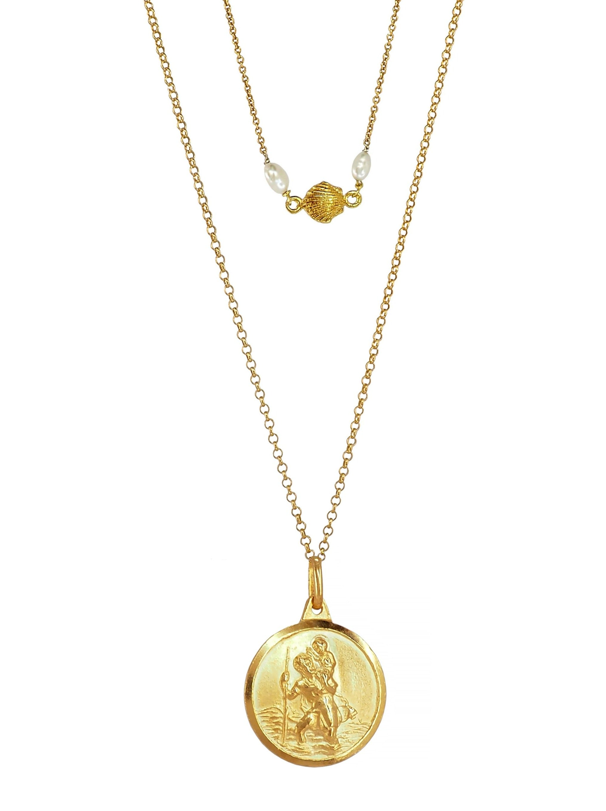 st. Christopher Gold plated sterling silver necklace san Cristobal freshwater pearls
