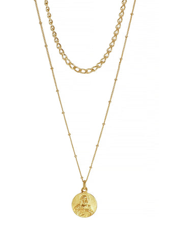 Sacred heart Gold plated Medallion Necklace