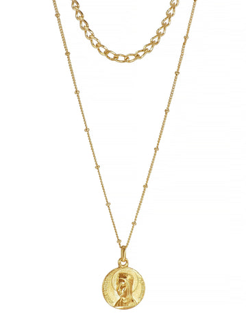Virgen de Montserrat Gold plated Medallion Necklace