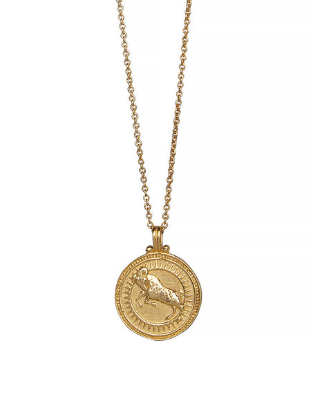 Aries Zodiac Necklace Gender Neutral Gold Plated Sterling Silver