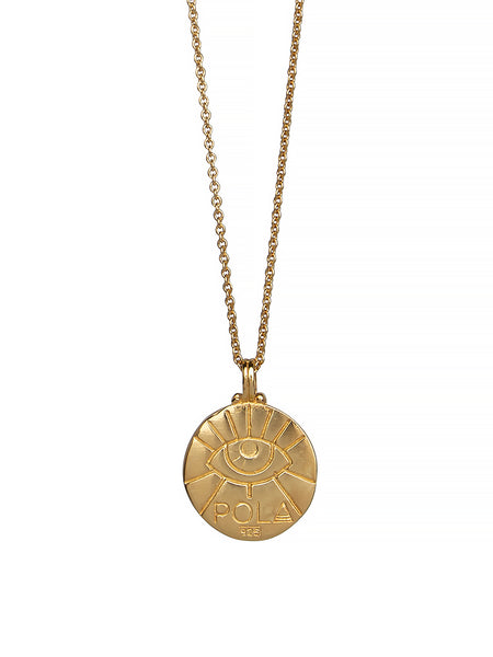 Pisces Zodiac Horoscope Necklace Gender Neutral Gold Vermeil 魚座 Third Eye 星座 Nazar