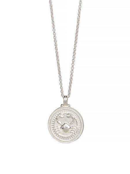 Cancer Zodiac Necklace Gender Neutral Sterling Silver. 蟹座 星座