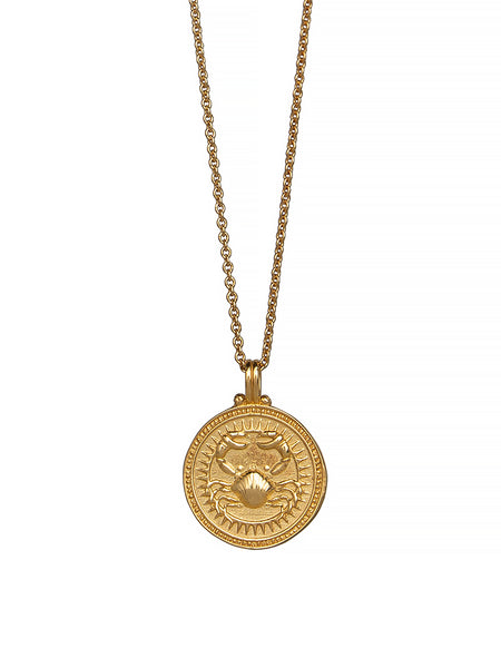 Cancer Zodiac Horoscope Necklace Gender Neutral 23c Gold Vermeil. 蟹座 星座