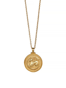 Capricorn Zodiac Necklace Gender Neutral Gold Vermeil 星座 山羊座