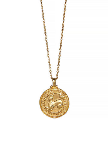 Capricorn Zodiac Horoscope Necklace Gender Neutral Gold Vermeil 星座 山羊座