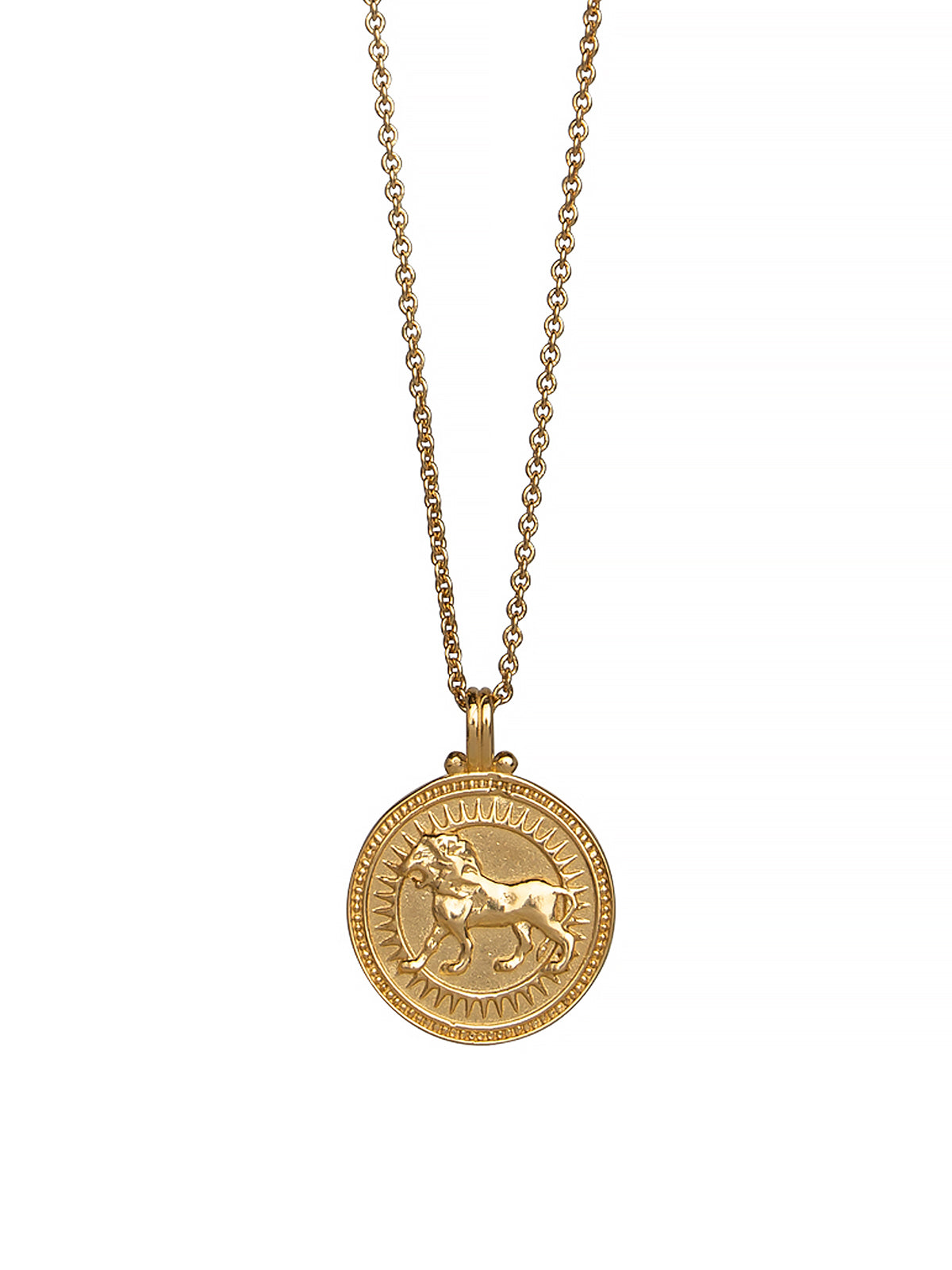 Leo Zodiac Necklace Gender Neutral, 23c Gold Vermeil. 獅子座 星座