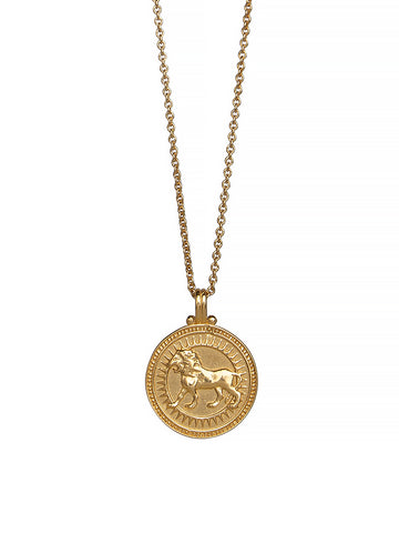 Leo Zodiac Horoscope Necklace Gender Neutral, 23c Gold Vermeil. 獅子座 星座
