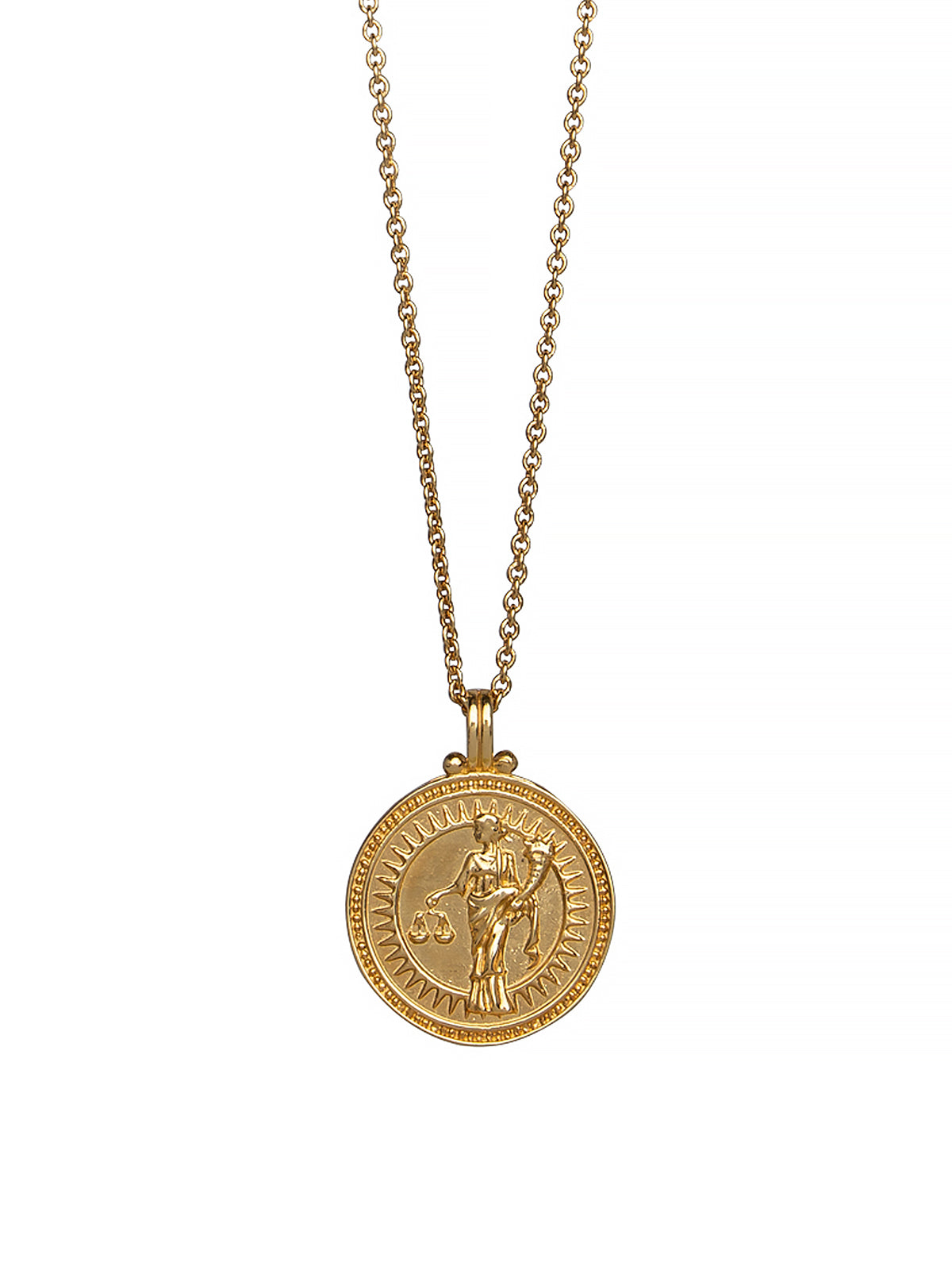 Libra Zodiac Necklace Gender Neutral Gold Vermeil 星座 天秤座