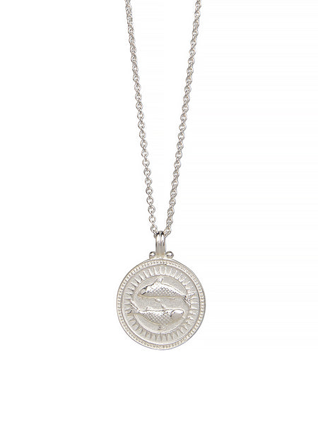 Pisces Zodiac Horoscope Necklace Gender Neutral Sterling Silver 魚座 星座