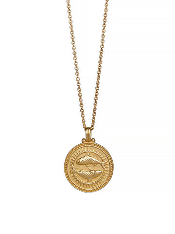 Pisces Zodiac Necklace Gender Neutral Gold Vermeil 魚座 星座