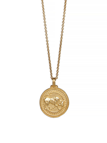 Taurus Zodiac Horoscope Gold Necklace. Gender Neutral. 23c Vermeil. 牡牛座  星座