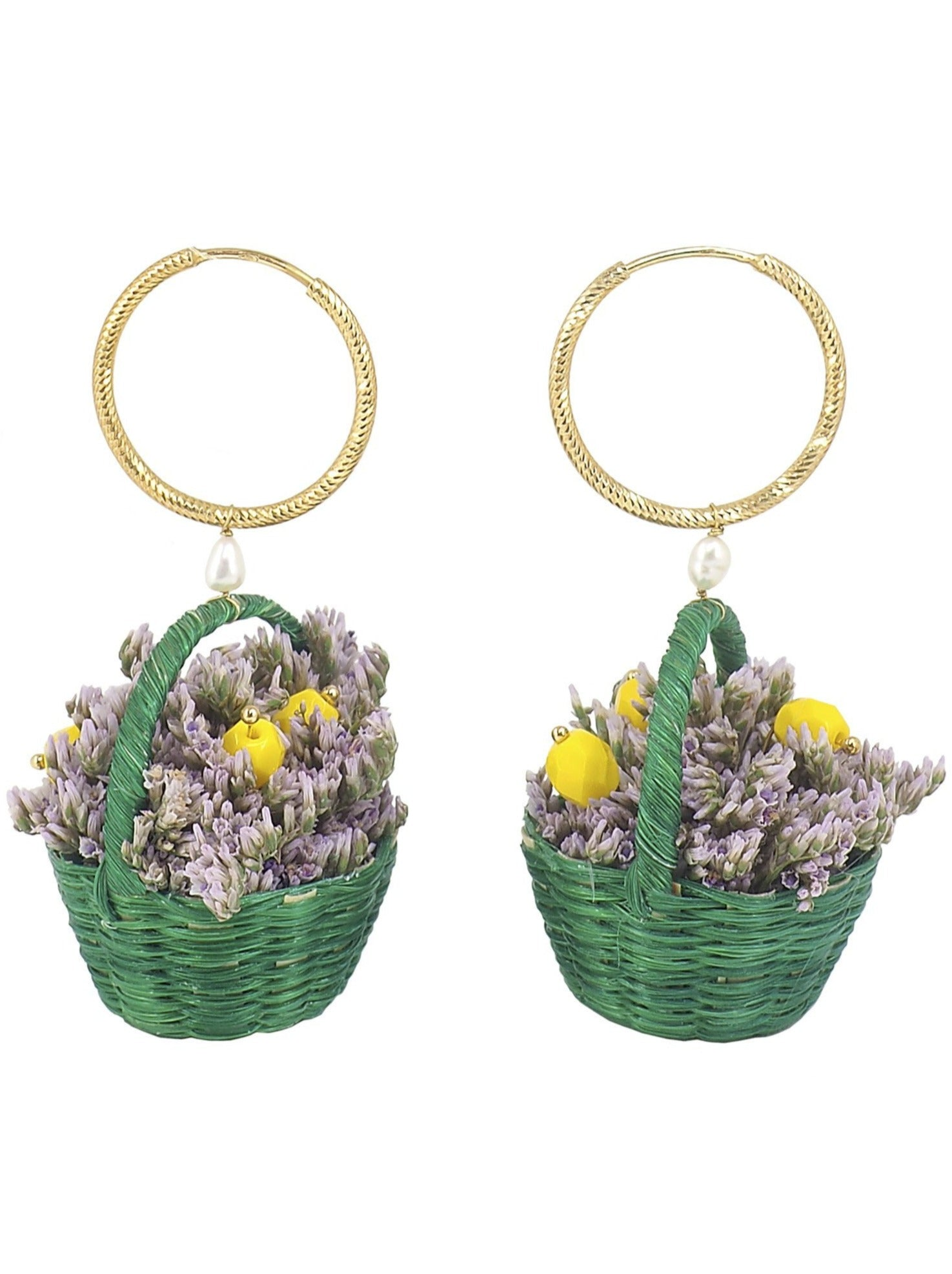 Little Basket of Limonium  Hoop Earrings - Green -These Beautiful and Unique Earrings are a conversation starter for sure so when you get asked about them you can tell your friends that these are the result of the designer´s love for two distant lands. The one where Pola was born is represented by the cutest little baskets handmade by artisans in Colombia. And the Island where her heart is set, Mallorca, is represented by the exquisite Limonium that grows by the Mediterranean Sea.